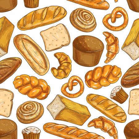 Bread pattern. Bakery shop seamless sketch bread and pastry products of wheat and rye bread loafs, bagels, croissants, pretzels, sweet buns, pies, cupcakes. Bread background design for patisserie, bakery shop