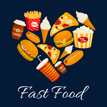 fastfood: I love fast food flat icons in heart shape. Vector isolated fastfood label with elements of cheeseburger, pizza slice, hot dog, french fries, soda drink, ice cream. Fast food menu card, poster, banner design