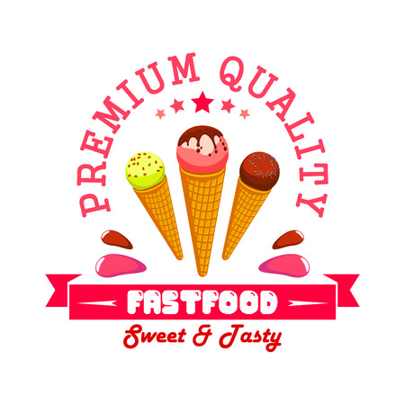 fastfood: Ice cream fast food menu card sticker. Vector ice cream scoops in wafer cones. Fastfood summer cafe banner label with red ribbon and text Premium Quality Fast Food Illustration
