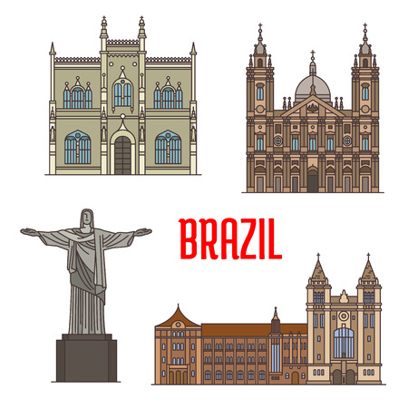 monastery: Tourist attraction architecture landmarks in Brazil. Christ the Redeemer statue, Portuguese Royal Public Library, Sao Bento Monastery, Candelaria Church detailed facade icons for travel, vacation design elements