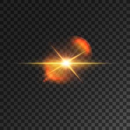 sun beam: Light effect. Star light beam. Spot light lens flare. Gold shining beams of twinkling star. Glowing sun isolated icon on transparent background