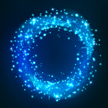 rounded: Sparkling light. Glittering circle space whirl motion. Blue neon twinkling stars in magic glowing round shape. Christmas, new year textured decoration design for greeting card element