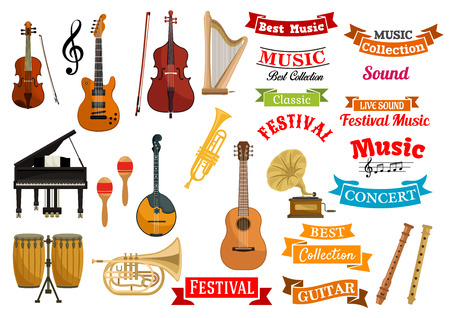 festival vector: Music instruments. Ribbons, labels, emblems for musical festival, live concert, classic performance decoration design. Vector icons of musical string and wind instruments violin, guitar, harp, cymbals, saxophone Illustration