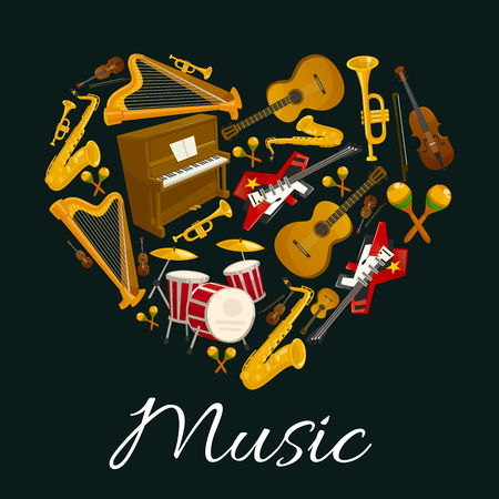 Music emblem of musical instruments in heart shape. Vector label with pattern of music instruments for jazz, rock, bossa nova, blues, pop, electro music disc cover, concert banner, music fest poster design Illustration