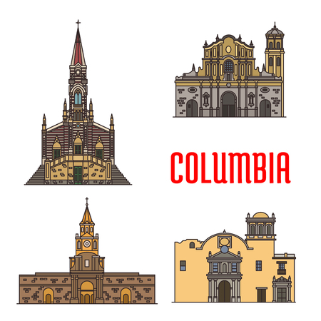 historic: Tourist architecture landmarks of Colombia. Vector Cathedral of Our Lady Carmen, Popayan Santo Domingo Cathedral, Cartagena Town Hall, Ermita Church. Historic sightseeing icons for travel, vacations