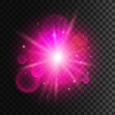 pink background: Star light with pink neon lens flare effect. Shining beams of sun sparkles. Glowing magic light with shiny halo on transparent background
