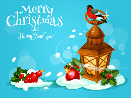 Christmas lantern festive poster. Candle lantern with bullfinch on the top stands in snow with holly berry branches and xmas bauble. New Year and Christmas greeting card design template
