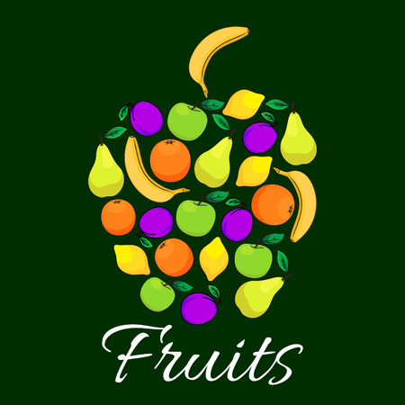 grape fruit: Fruits flat icons combined in shape of apple fruit. Vector fruits pattern of fresh juicy banana, grape, orange, apple, citrus lemon elements with text. Fruit label design