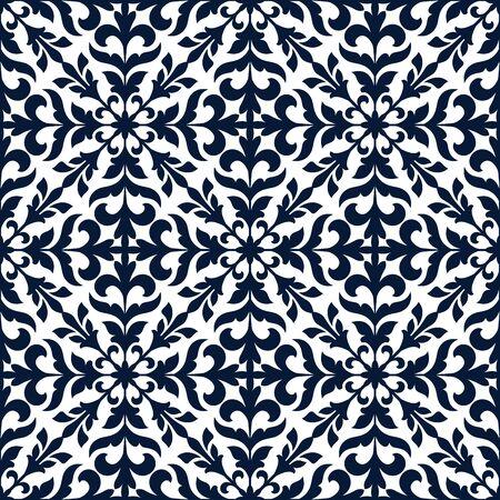 tendrils: Floral stylized ornate decoration pattern tile. Vector decor tiling with blue graphic elements of floral tendrils, leaves. Seamless background for damask decor, vintage fabric textile Illustration