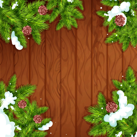 snow cone: Christmas wooden background. Fir and pine green branches with snow and cone on wooden plank background with copy space. Christmas tree frame for greeting card design Illustration