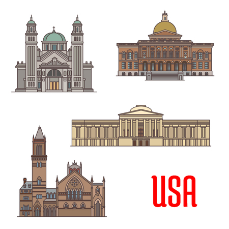 USA tourist attraction and architecture landmarks. St. James Cathedral, Massachusetts State House, National Gallery of Art, Old South Church. Vector icons of american famous buildings facades Ilustração