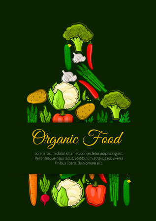 fresh vegetable: Organic vegetables food emblem of vegetable pattern of fresh vegan of cabbage, onion, kohlrabi, pepper, zucchini, leek, celery, daikon radish, carrot, beet, potato, broccoli, pumpkin. Vector vegetarian label with text in shape of cutting board