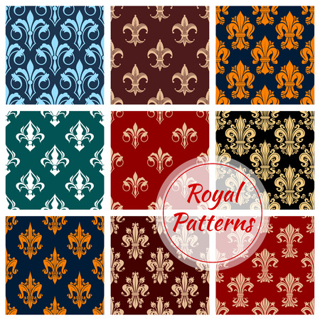 retro patterns: Royal patterns set of stylized floral decor ornaments. Seamless pattern of ornate decoration tiles of damask, vintage and retro decor elements. Background for luxury interior design