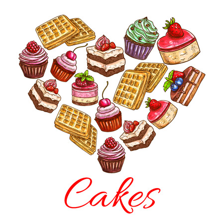 patisserie: I love cakes. Pastry desserts in heart shape label. Bakery shop chocolate pies and cupcakes with strawberry cream toppings, fruit and vanilla muffins. Decoration emblem for patisserie, cafe, restaurant
