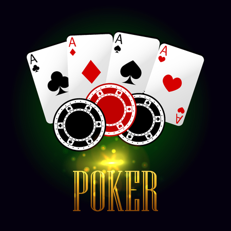 Poker casino banner with playing cards and chips. Vector elements of aces cards set, poker gaming tokens with text on green board background for online and machine gaming roulette entertainment poster design