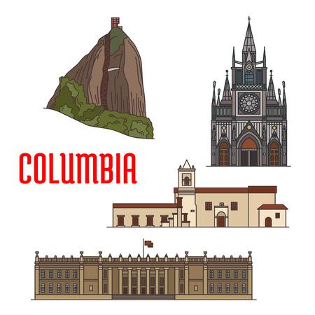 world heritage: Architecture tourist attractions of Colombia. El Penon de Guatape Rock, Iglesia de la Merced church, Las Lajas Sanctuary, Colombian Capitol. Historic buildings vector icons