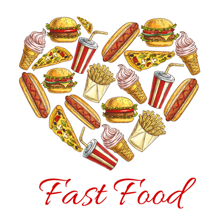 fastfood: Fast food sketch icons combined heart shape. I love fast food concept. Vector fastfood label with elements of cheeseburger, pizza slice, hot dog, french fries, soda drink, ice cream for menu card, poster design