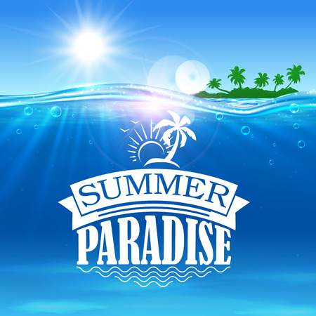 Summer paradise banner. Ocean, palms, island beach, shining sun background design for postcard, greeting card. Vacation, holiday travel poster 向量圖像