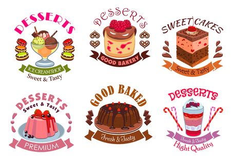 sweet pastry: Bakery desserts, pastry cakes emblem labels set. Vector isolated icons of dessert and sweet souffle cupcakes, berry pudding, fruit ice cream scoops bowl, chocolate pie. Vector emblem design for patisserie menu, cafe, pastry shop