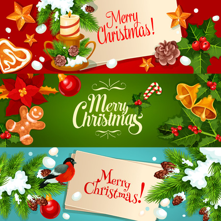 xmas star: Christmas festive banner set. Holly berry and fir tree branches with xmas bauble, star, bell, gingerbread and candy, bullfinch, candle with pine and poinsettia flower. New Year greeting card design