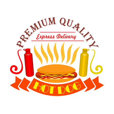 Hot dog icon. Fast food icon with elements of american hot dog sausage, vegetables, buns, ketchup, mustard. Premium quality fast food label for fast food menu card, signboard, sticker design