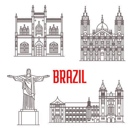 portugese: Christ the Redeemer statue, Portuguese Royal Public Library, Sao Bento Monastery, Candelaria Church. Architecture travel landmarks of Rio De Janeiro in Brazil. Tourist sightseeing vector icons Illustration