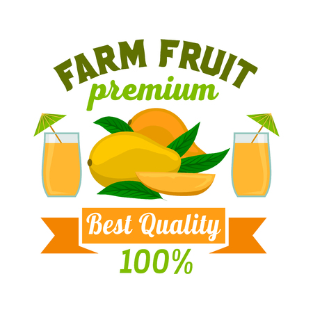 fruit juice: Mango. Premium exotic tropical fruit juice emblem. Vector icon of whole and half cut juicy mango fruit with fresh mango juice glass. Label cafe, vegan drink bar sign sticker, grocery farm store