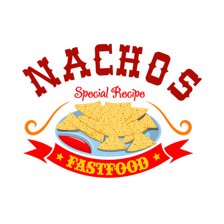 fastfood: Nachos fast food menu emblem. Mexican corn chips with spicy hot tomato dipping sauce, red ribbon and label text Nachos. Fastfood icon for latin restaurant menu card, sign board sticker design