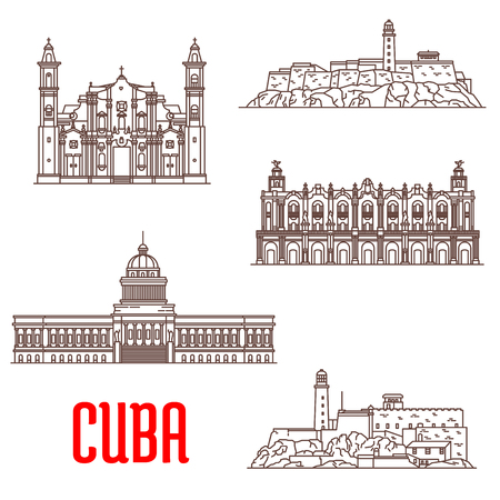 havana: Cuba tourist architecture, travel attraction icons. Great Theatre of Havana, Real Fuerza Fortress, San Carlos de la Cabana, National Capitol, St Christopher Havana Cathedral. Vector detailed facades