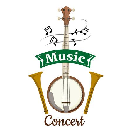 Emblema del vector del concierto de la música con los elementos del vector de la secuencia popular y étnica musical isjument banjo, gambusi, biwa, koto, laúd, flautas y notas de la música, clave con la cinta verde para el cartel, diseño del cartel del concierto