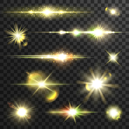 Shining gold star light set. Vector shining beams of glittering light with lens flare effect. Sparkling and twinkling golden stars with blurs on transparent background