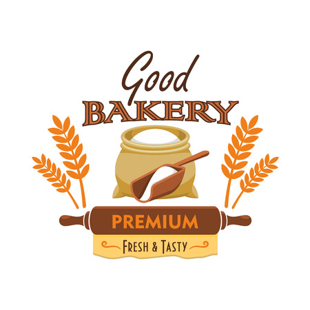 patisserie: Bakery emblem. Vector elements of flour bag sack, wheat and rye ears, rolling pin, dough. Good bakery label for patisserie shop, cafe design