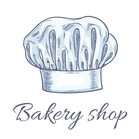 toque: Bakery shop emblem of baker chef toque hat. Traditional chef hat with folds. Vector isolated doodle sketch label for cafe, restaurant, bakery, patisserie Illustration