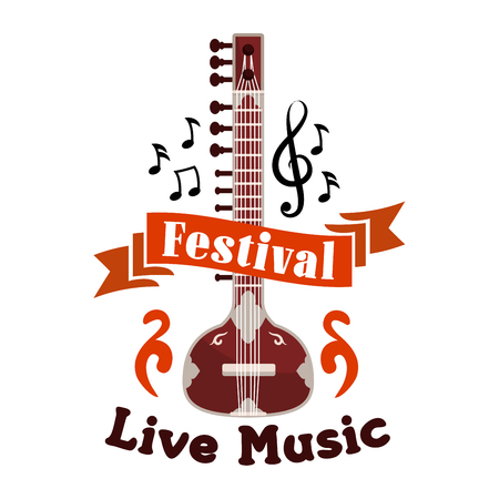 clefs: Live folk ethnic music festival vector emblem. Musical label design with string music istrument guitar, banjo, gambusi, biwa, koto, music, notes, clefs, red ribbon for placard, concert poster, music fest banner