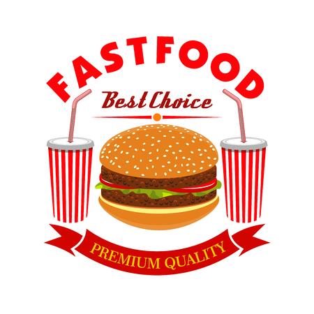 fastfood: Cheeseburger and soda drink for fast food menu. Vector burger with meat cutlet and vegetables, two paper cups of drinks, red ribbon and text Best Choice Fastfood
