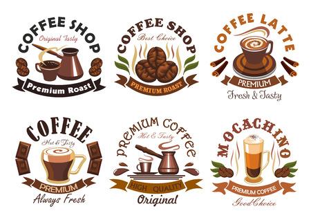 cafe latte: Coffee. Vector emblem for cafe, coffee shop label, signboard, menu card. elements of espresso, latte, coffee beans, macchiato, turkish coffee maker cezve. Coffee Shop ribbon sticker