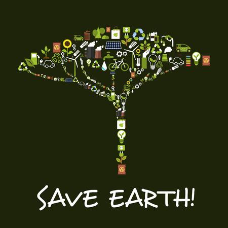 Außer Erde Symbol In Kleeblattform. Natur Und Ökologie Schutz Des ...