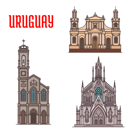 Uruguay tourist attraction, architecture landmarks. Church of Our Lady of Sorrows, Cathedral Basilica of Saint John the Baptist, Sagrada Familia Capilla Jackson. Historic famous buildings of Uruguay. Vector detailed facades icons Illustration