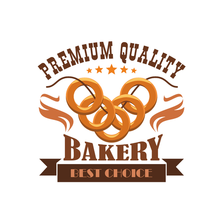 Bakery emblem. Bread bagel bunch. Business label for bread product shop with vector elements of wheat loaf, pretzel, bun on thread. Premium quality bakery shop sticker with brown ribbon