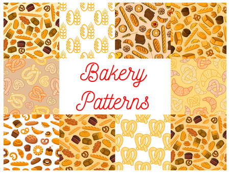 buns: Bakery pattern set of bread products and desserts. Vector seamless pattern of wheat and rye bread loaf, pretzel, muffin, brick, bun, croissant, cake, cupcake. Bakery decoration tile background
