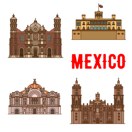 Tourist landmarks and sightseeings of Mexico. Our Lady of Guadalupe Basilica, Chapultepec Castle, Mexico Palace of Fine Arts, Metropolitan Cathedral. Vector detailed facades icons of mexican building and architecture travel attractions Illustration