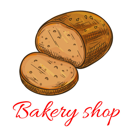 wheat bread: Bakery shop emblem. Vector isolated baked wheat bread loaf. Business label of rye bread sliced bun. Premium quality bakery and pastry shop sticker