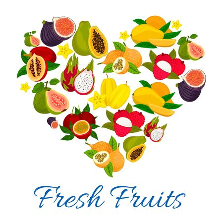 Heart emblem of fresh exotic tropical fruits. Fruit love label of sweet figs, mango, papaya, lychee, dragon fruit, carambola, guava, passion fruit