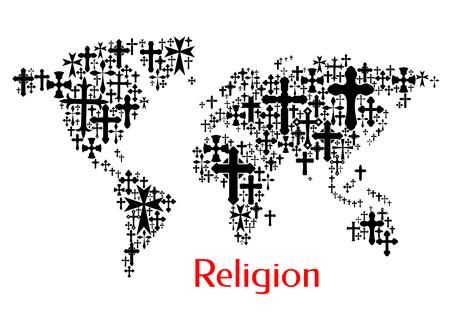 catholic symbols: World map design of crucifix cross pattern. Religion conceptual decoration background of vector icons of crucifixion. Christianity orthodox, catholic symbols