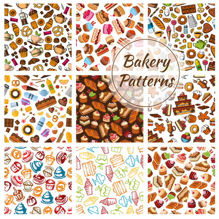 patisserie: Bakery bread, pastry, patisserie sweets patterns. Vector seamless pattern of bread and desserts. Wheat bread loaf, rye bagel, cake, cupcake, muffin, buns, croissants. Bakery shop decoration background Illustration