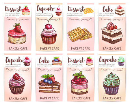 bakery price: Cafe, cafeteria, patisserie desserts menu. Sketch icons of sweet cupcakes, cakes, chocolate muffins, wafers, waffles with fruits and berries. Vector stickers, posters for bakery shop desserts price tags