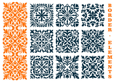 Ornamental decoration floral patterns. Curled and curved decorative openwork elements of leaves, branches, tendrils for certificate, diploma border frames, interior decor, tile Stock Vector - 66208451