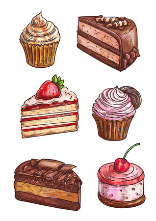 Patisserie sweet desserts sketch. Vector isolated confectionery icons of cupcake with strawberry topping, chocolate cake, vanilla muffin with whipped cream, cherry caramel souffle Illustration