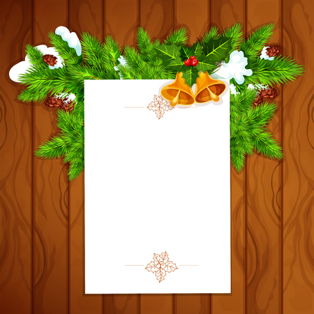 ilex: Christmas and New Year greeting card with blank paper, decorated by holly berry with bell and snowy pine branch with cone on wooden background. Xmas card template design with copy space