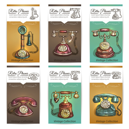 Old vintage retro phones with receivers, dials, wires. Banners and cards. Sketch icons on color background Illustration